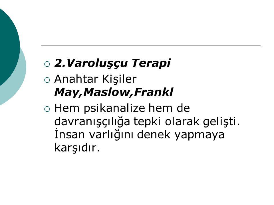 2.Varoluşçu Terapi Anahtar Kişiler May,Maslow,Frankl.