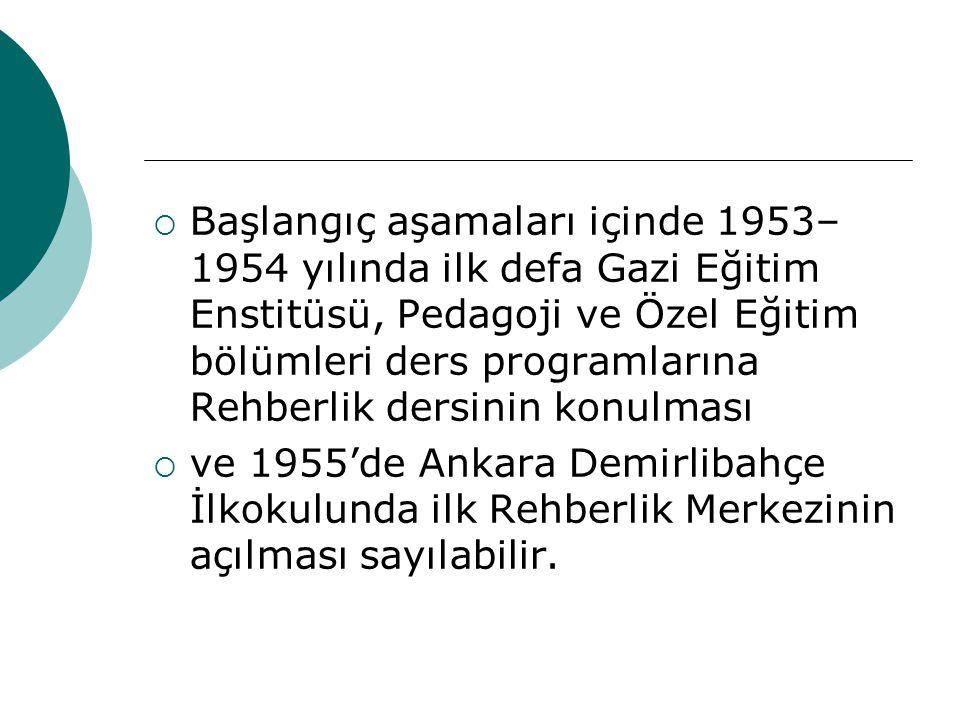 Başlangıç aşamaları içinde 1953–1954 yılında ilk defa Gazi Eğitim Enstitüsü, Pedagoji ve Özel Eğitim bölümleri ders programlarına Rehberlik dersinin konulması