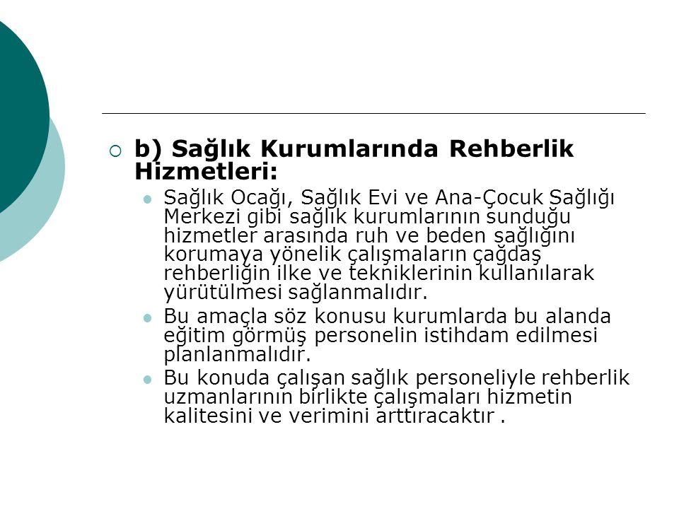 b) Sağlık Kurumlarında Rehberlik Hizmetleri: