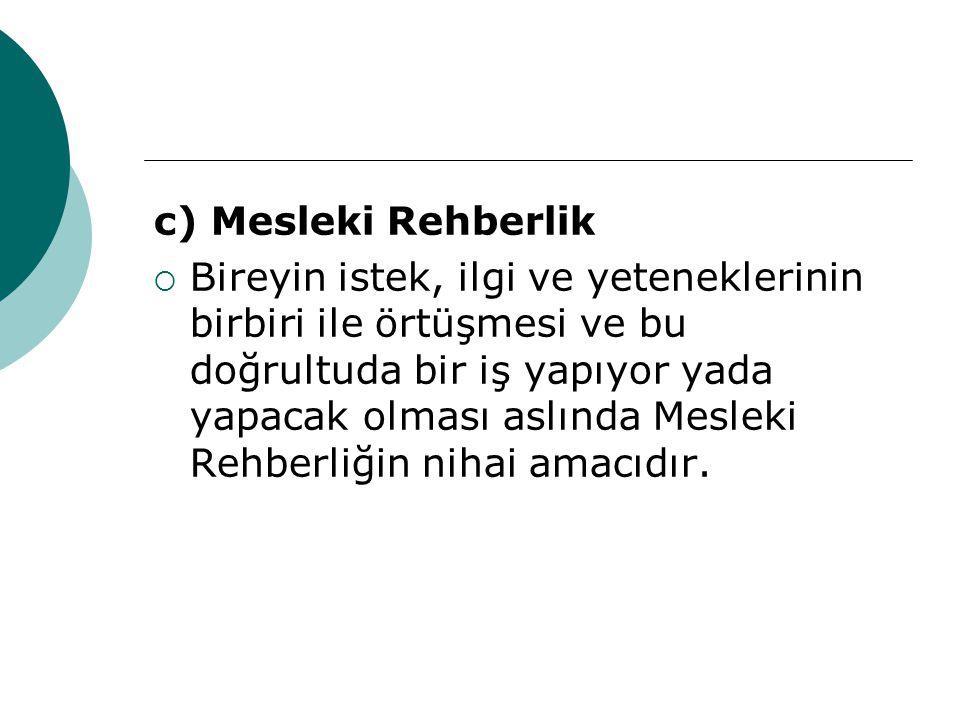 c) Mesleki Rehberlik