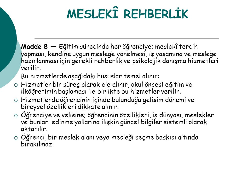 MESLEKÎ REHBERLİK