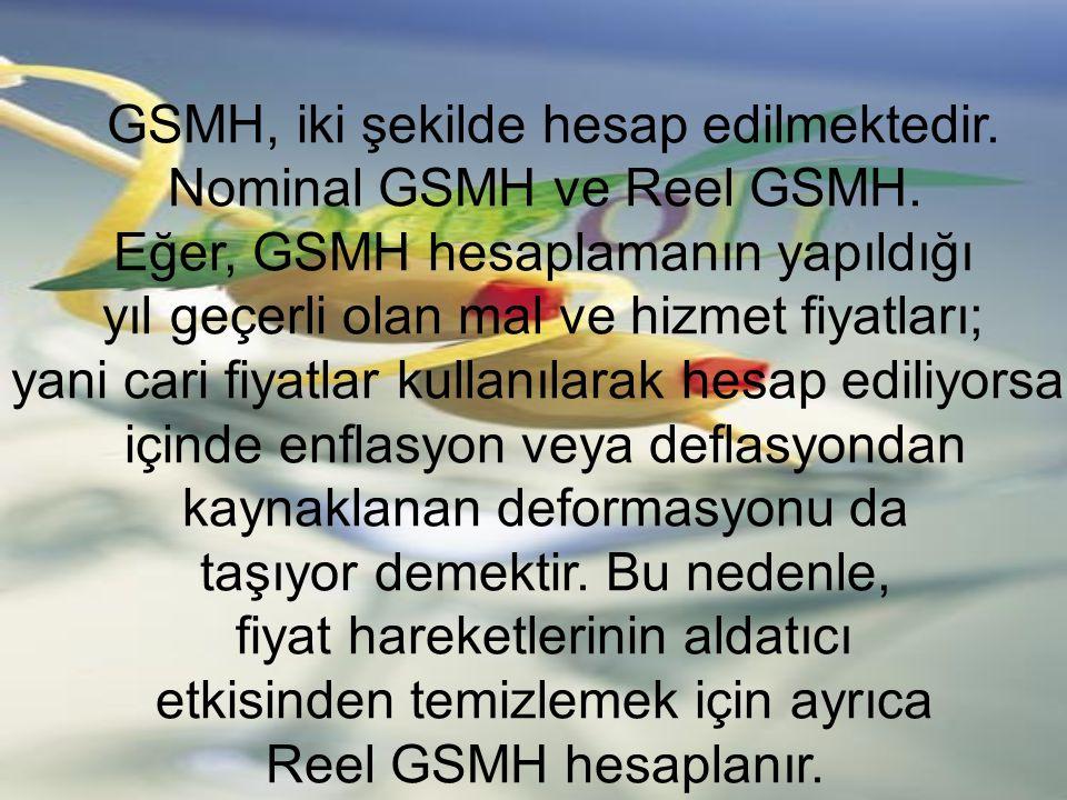 GSMH, iki şekilde hesap edilmektedir. Nominal GSMH ve Reel GSMH.