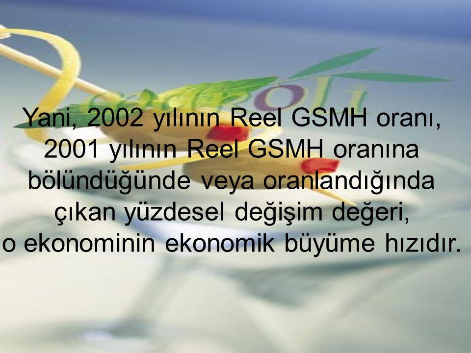 Yani, 2002 yılının Reel GSMH oranı, 2001 yılının Reel GSMH oranına