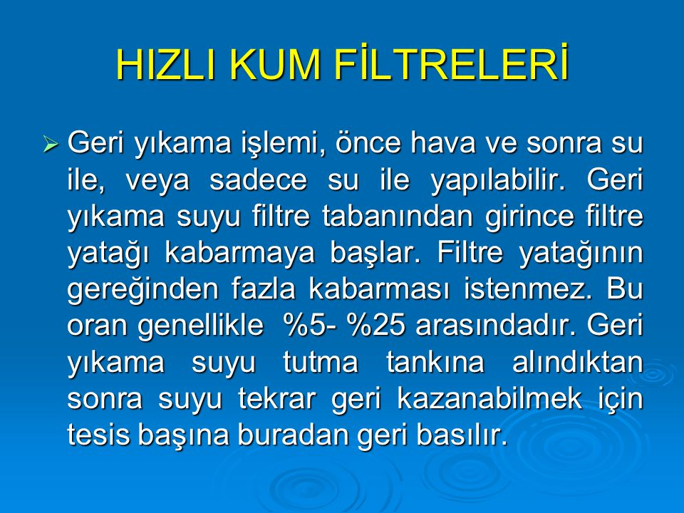 HIZLI KUM FİLTRELERİ