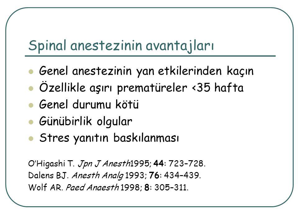 Spinal anestezinin avantajları