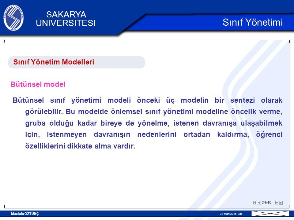 Sınıf Yönetimi Sınıf Yönetim Modelleri Bütünsel model