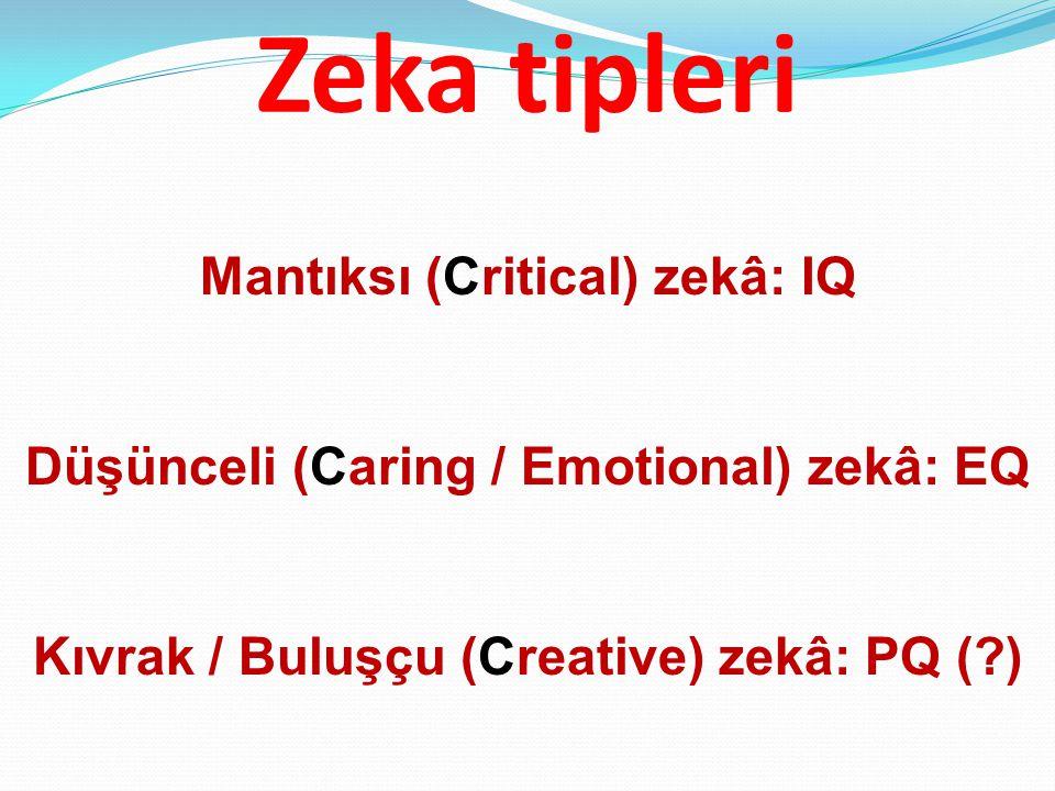 Zeka tipleri Mantıksı (Critical) zekâ: IQ