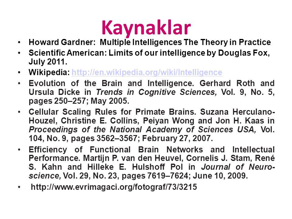Kaynaklar Howard Gardner: Multiple Intelligences The Theory in Practice.