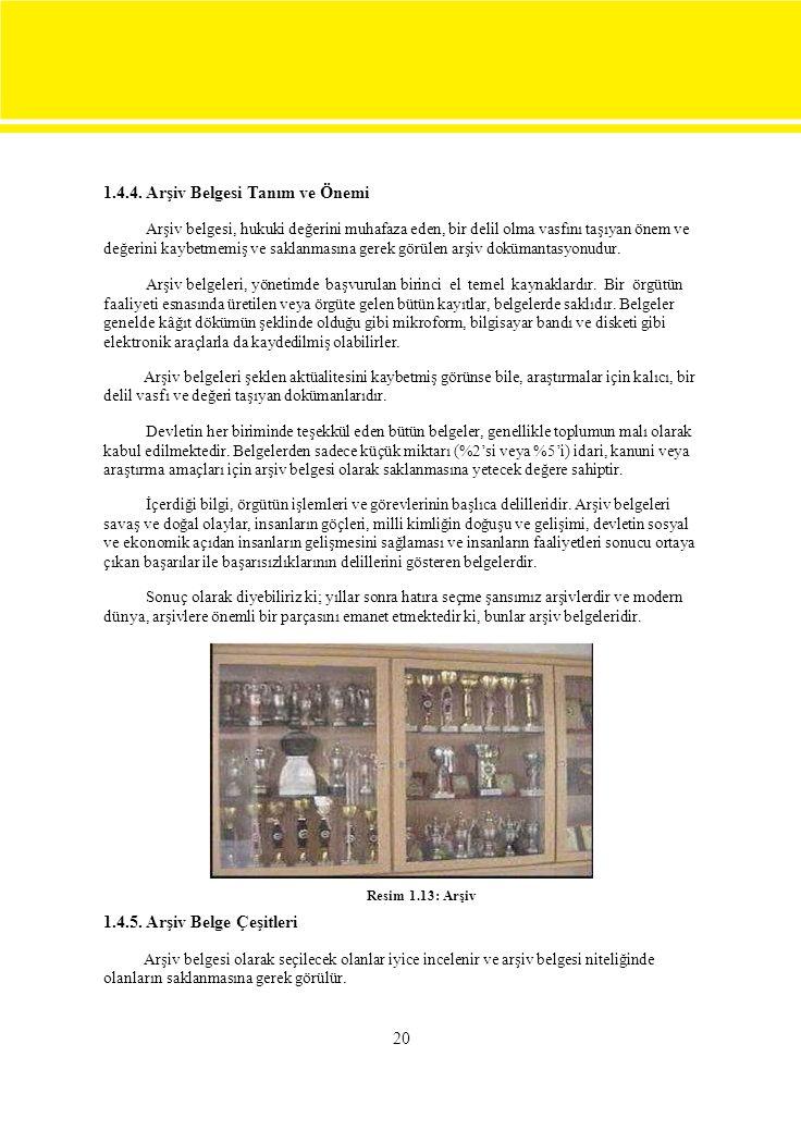1.4.4. Arşiv Belgesi Tanım ve Önemi