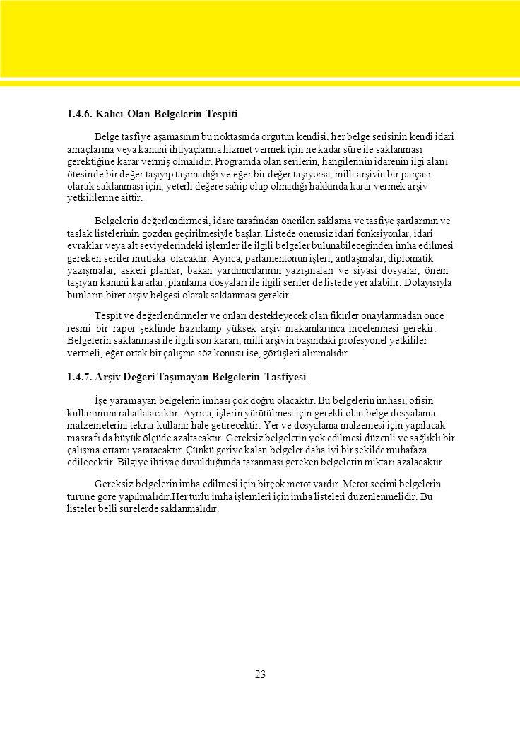 1.4.6. Kalıcı Olan Belgelerin Tespiti