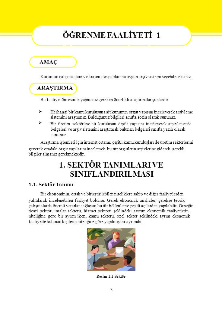 ÖĞRENME FAALİYETİ - 1 AMAÇ SINIFLANDIRILMASI ÖĞRENME FAALİYETİ–1