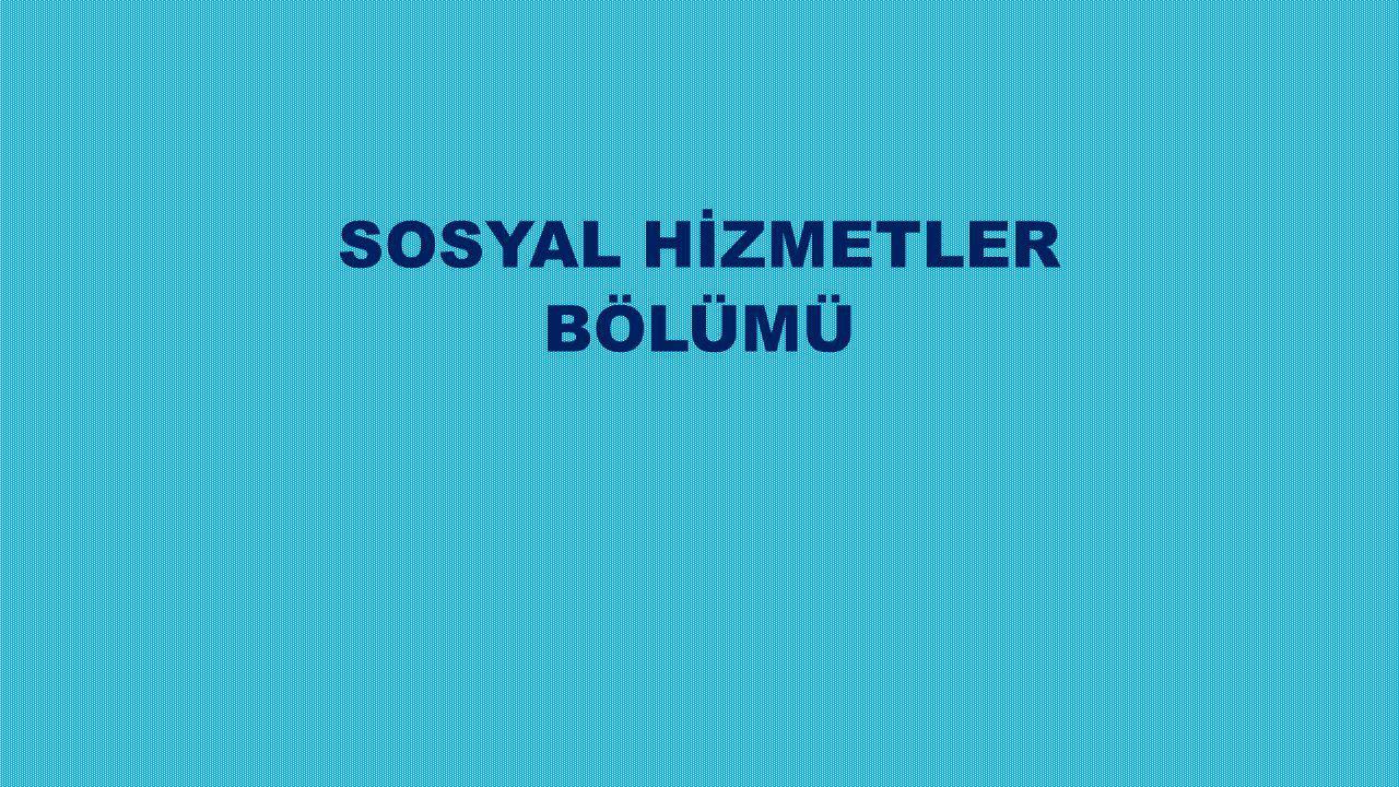 SOSYAL HİZMETLER BÖLÜMÜ