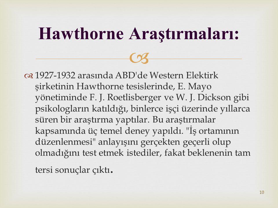 Hawthorne Araştırmaları: