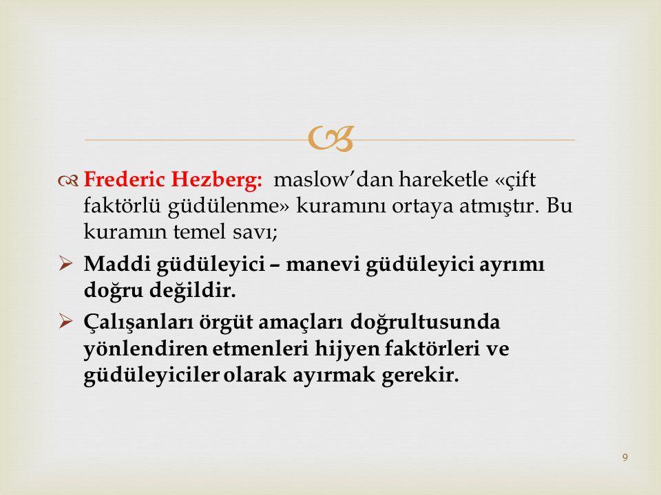 Frederic Hezberg: maslow'dan hareketle «çift faktörlü güdülenme» kuramını ortaya atmıştır. Bu kuramın temel savı;