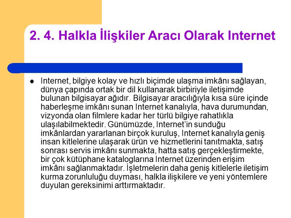 2. 4. Halkla İlişkiler Aracı Olarak Internet