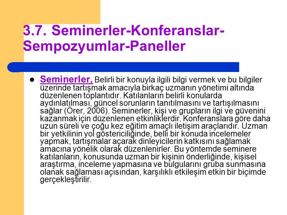 3.7. Seminerler-Konferanslar- Sempozyumlar-Paneller
