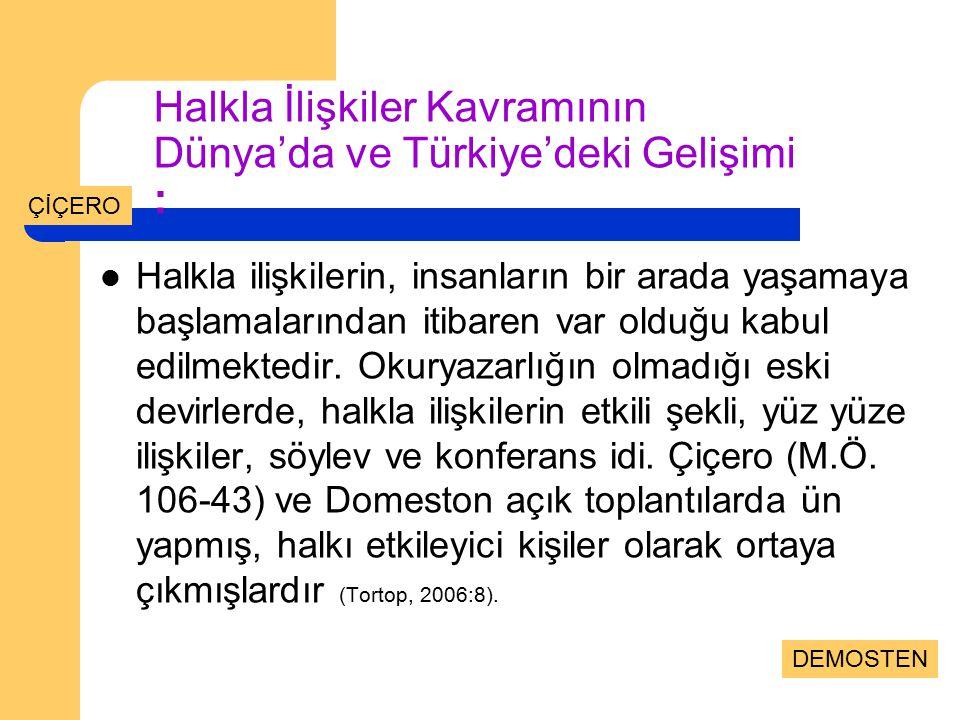 Halkla İlişkiler Kavramının Dünya'da ve Türkiye'deki Gelişimi :