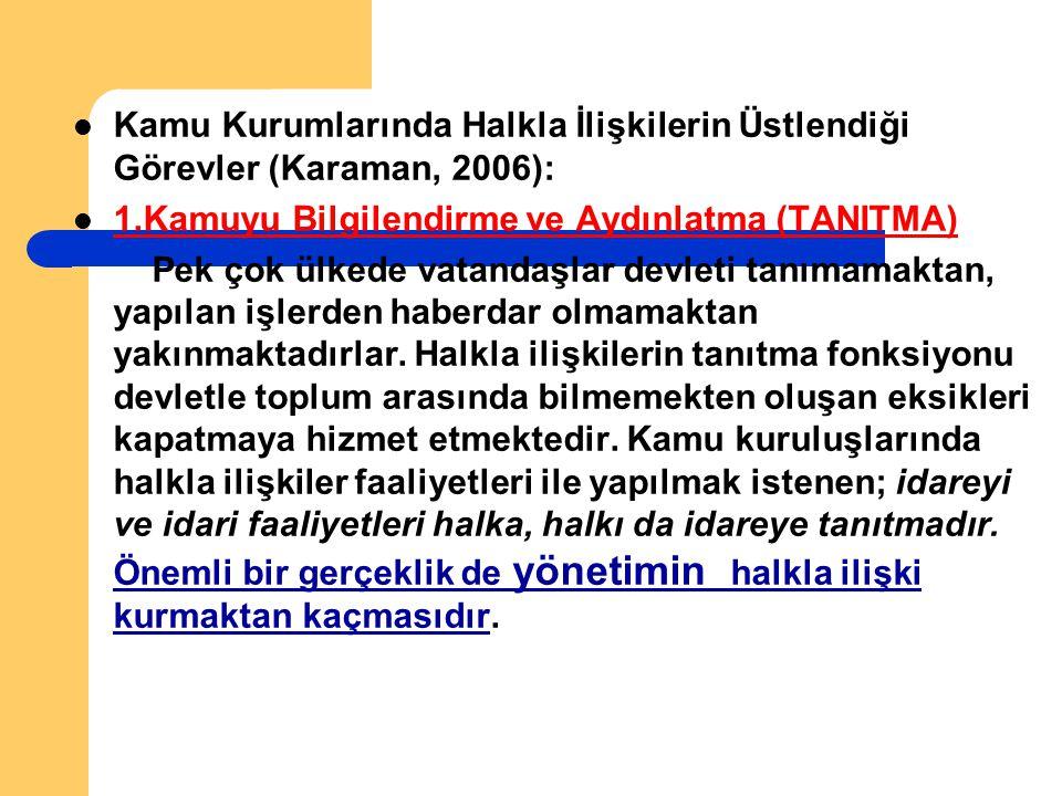 Kamu Kurumlarında Halkla İlişkilerin Üstlendiği Görevler (Karaman, 2006):