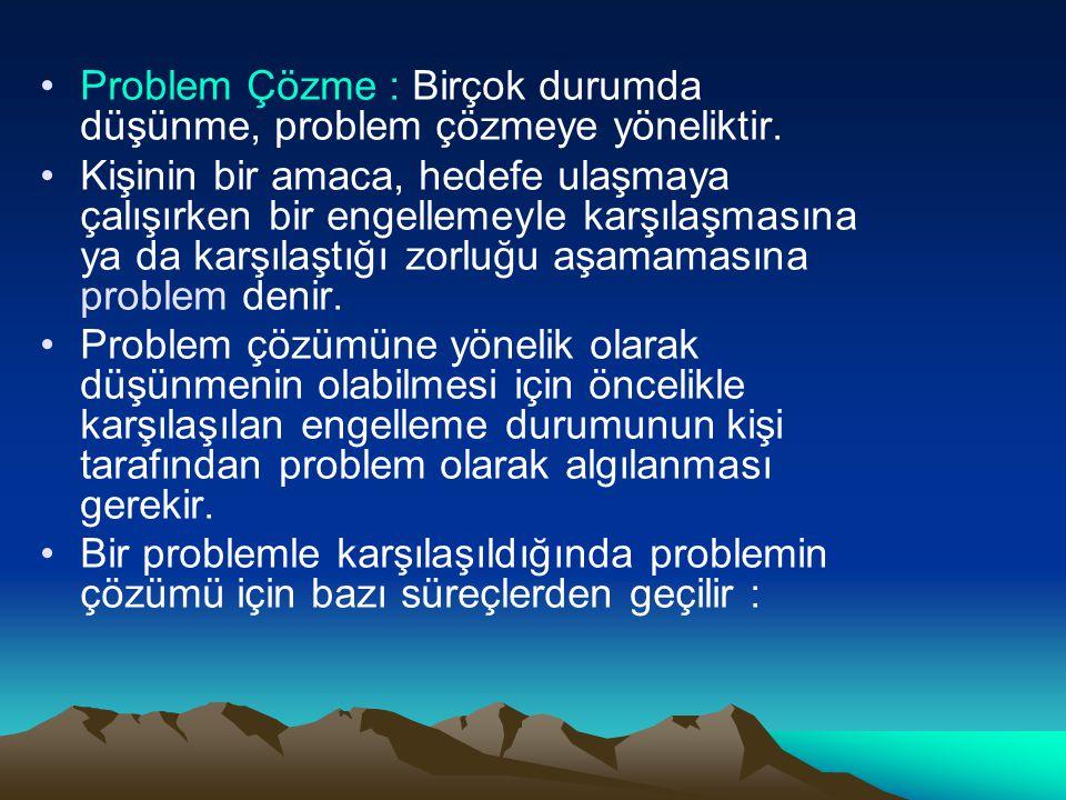 Problem Çözme : Birçok durumda düşünme, problem çözmeye yöneliktir.