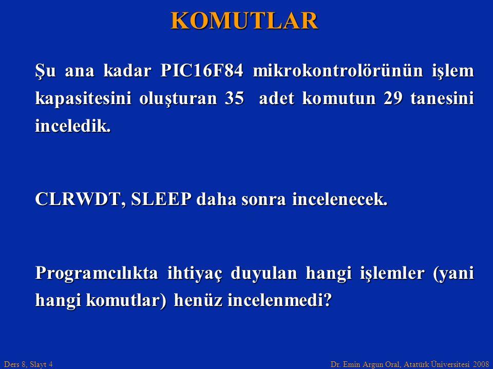 KOMUTLAR Şu ana kadar PIC16F84 mikrokontrolörünün işlem kapasitesini oluşturan 35 adet komutun 29 tanesini inceledik.