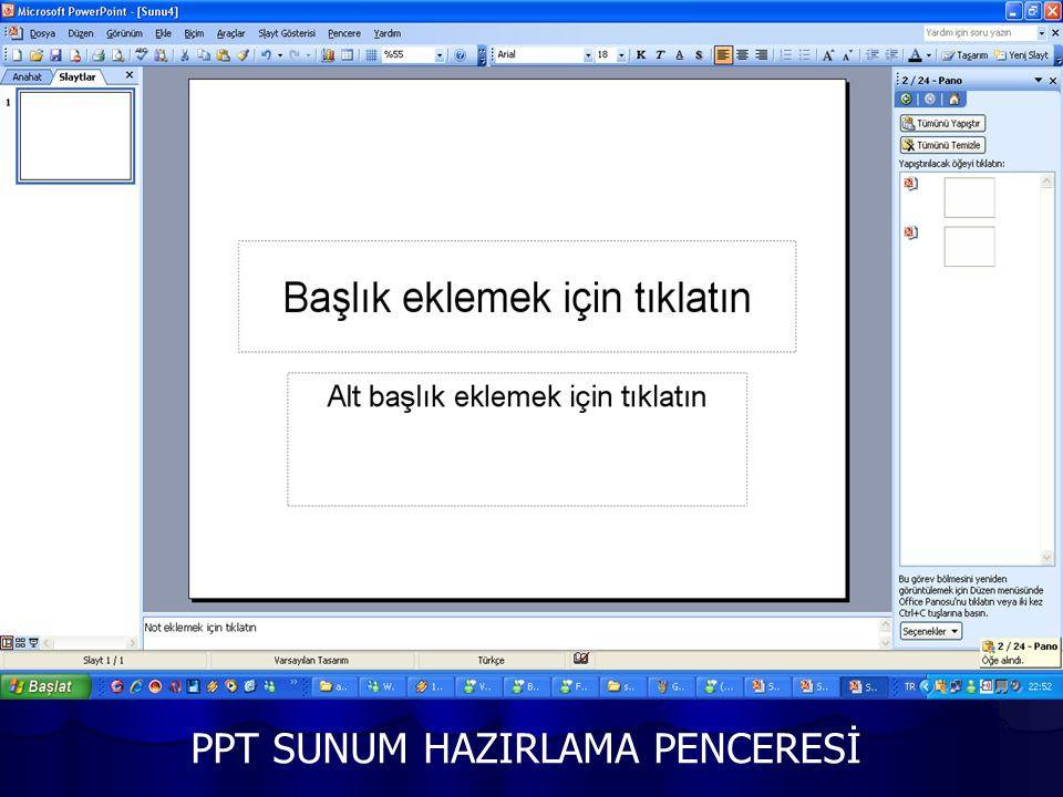 PPT SUNUM HAZIRLAMA PENCERESİ