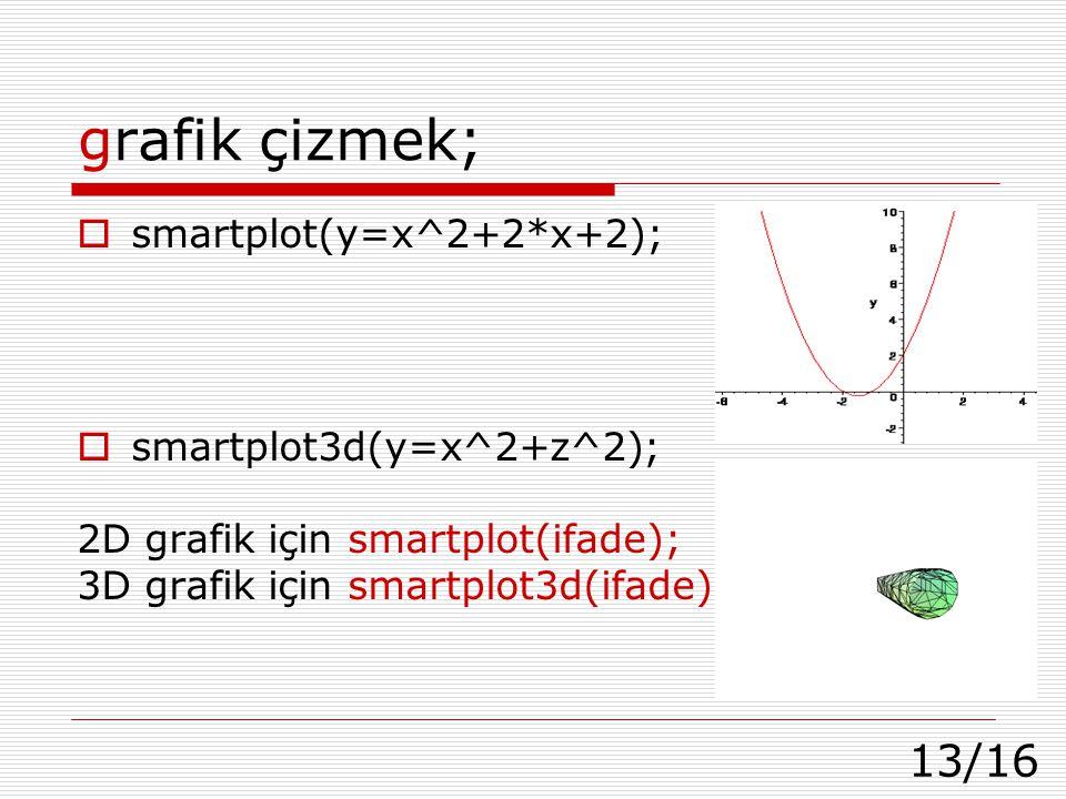 grafik çizmek; smartplot(y=x^2+2*x+2); smartplot3d(y=x^2+z^2);