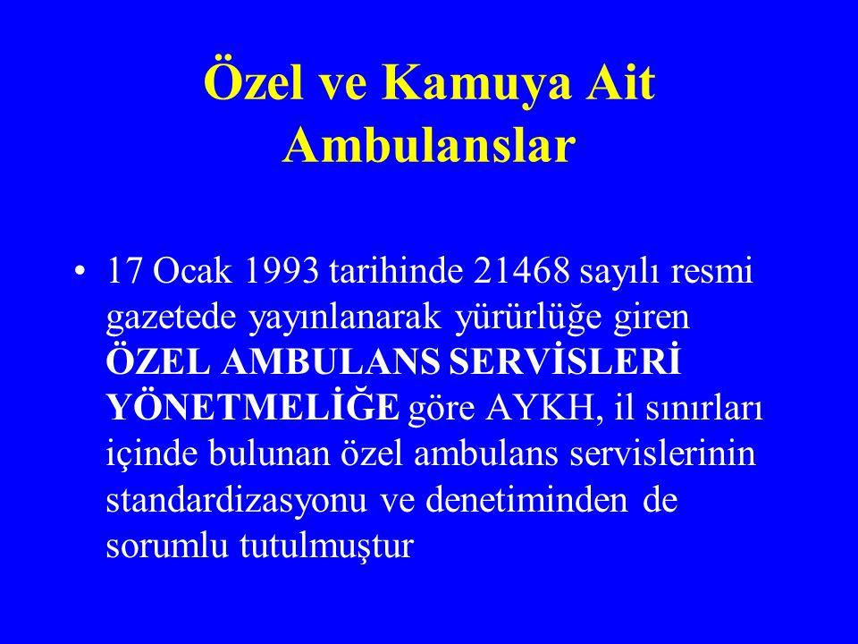 Özel ve Kamuya Ait Ambulanslar