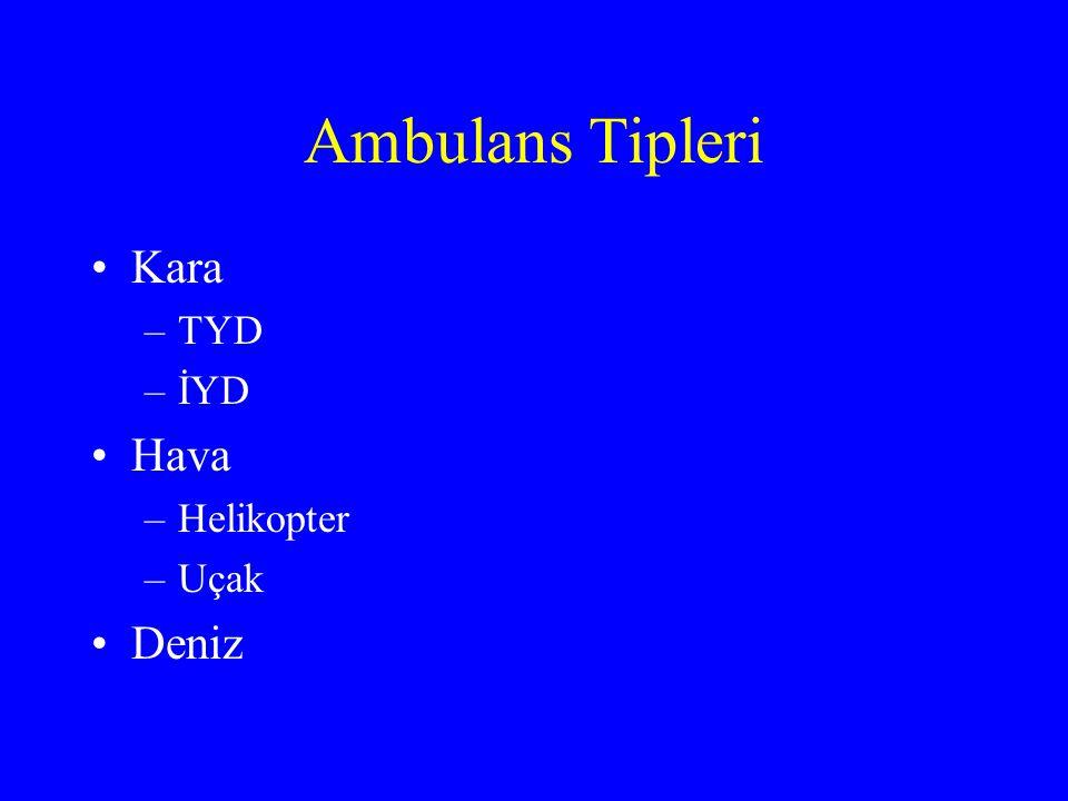 Ambulans Tipleri Kara TYD İYD Hava Helikopter Uçak Deniz