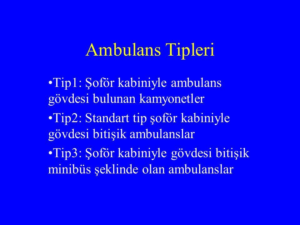 Ambulans Tipleri Tip1: Şoför kabiniyle ambulans gövdesi bulunan kamyonetler. Tip2: Standart tip şoför kabiniyle gövdesi bitişik ambulanslar.