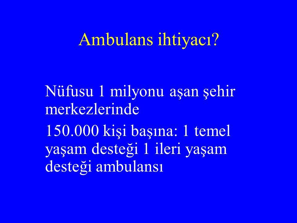 Ambulans ihtiyacı. Nüfusu 1 milyonu aşan şehir merkezlerinde.