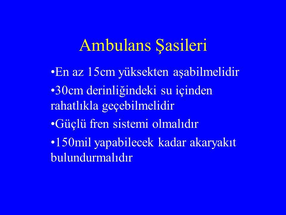 Ambulans Şasileri En az 15cm yüksekten aşabilmelidir