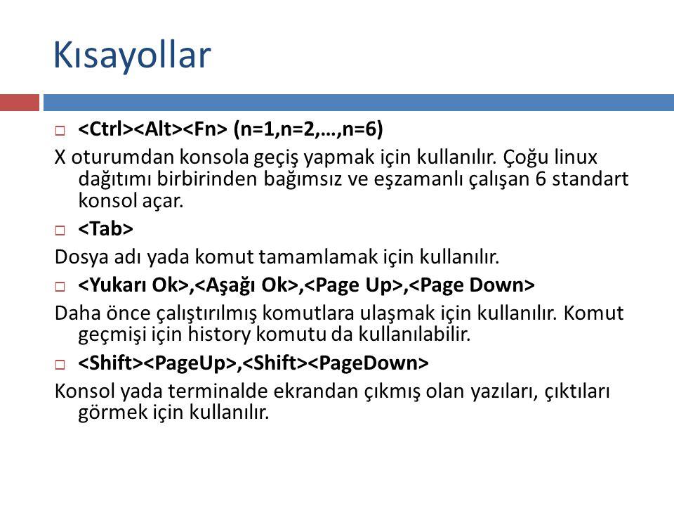 Kısayollar <Ctrl><Alt><Fn> (n=1,n=2,…,n=6)