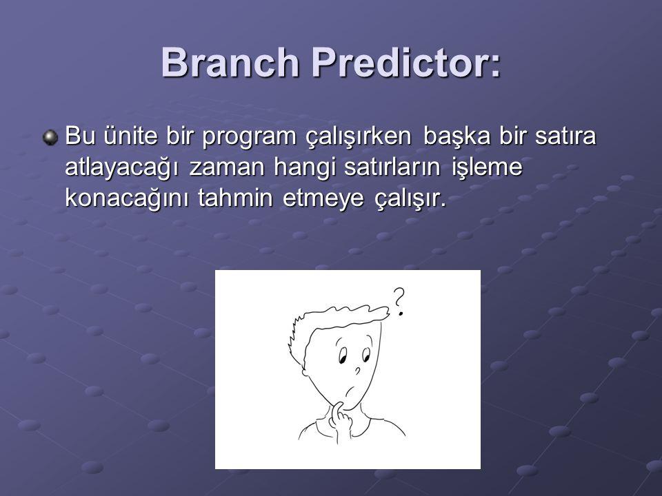 Branch Predictor: Bu ünite bir program çalışırken başka bir satıra atlayacağı zaman hangi satırların işleme konacağını tahmin etmeye çalışır.