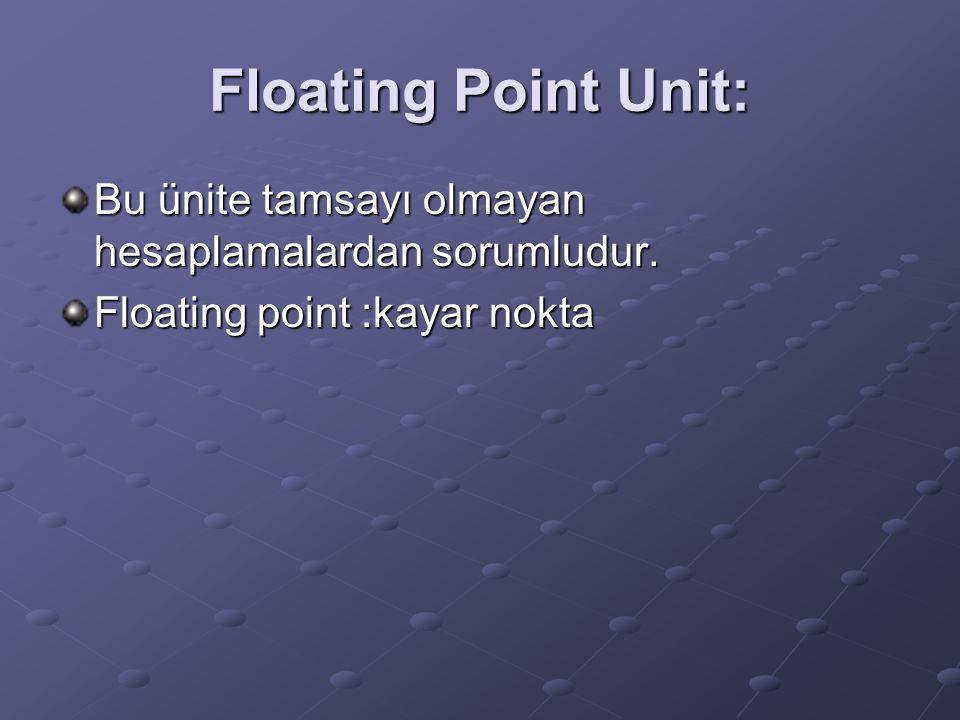 Floating Point Unit: Bu ünite tamsayı olmayan hesaplamalardan sorumludur.
