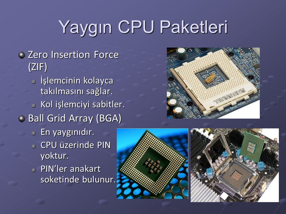 Yaygın CPU Paketleri Zero Insertion Force (ZIF) Ball Grid Array (BGA)