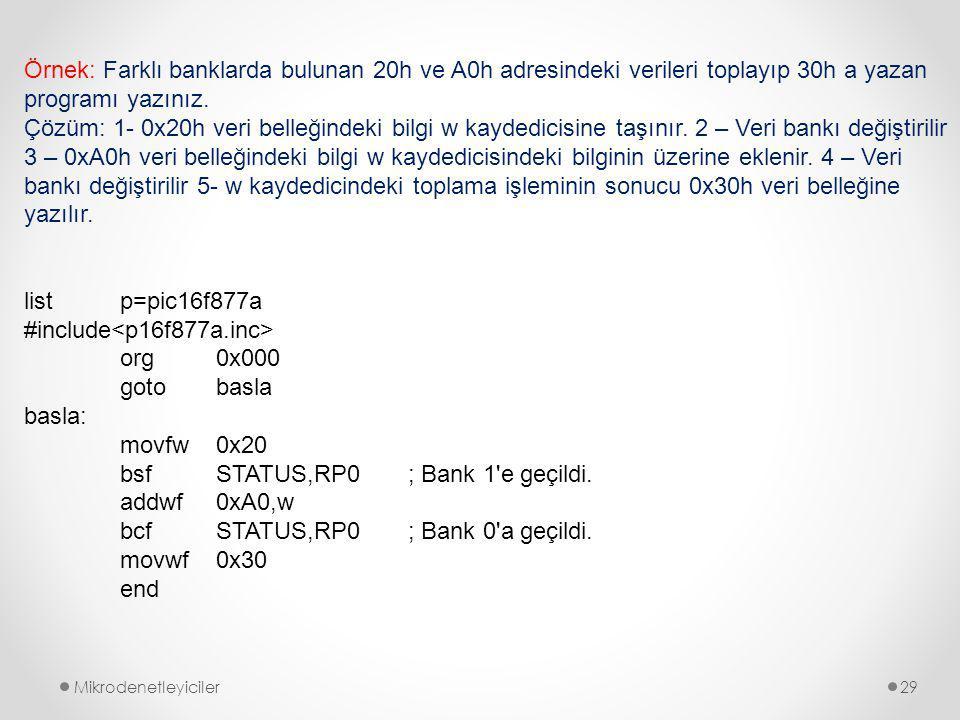 #include<p16f877a.inc> org 0x000 goto basla basla: movfw 0x20