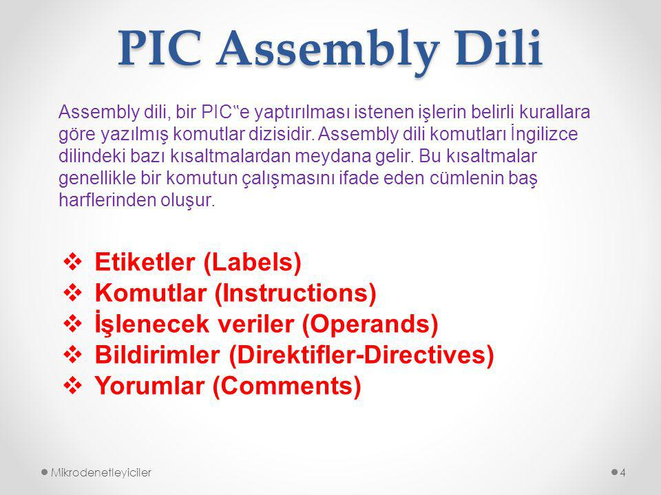 PIC Assembly Dili Etiketler (Labels) Komutlar (Instructions)