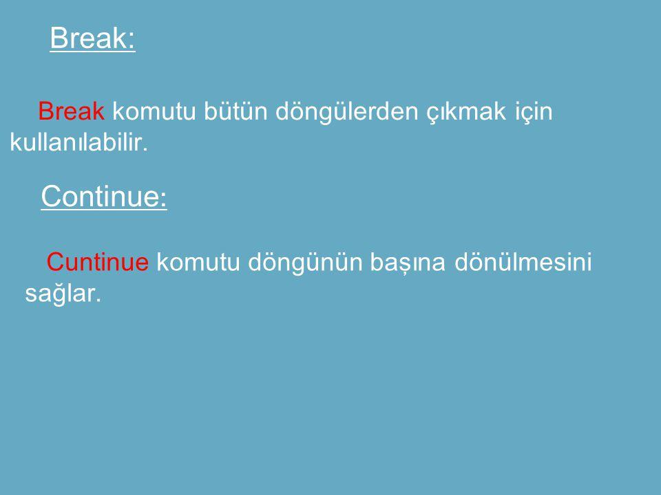 Break: Break komutu bütün döngülerden çıkmak için kullanılabilir.
