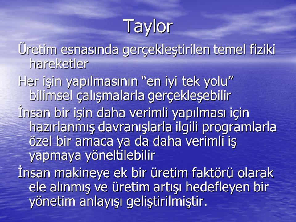 Taylor Üretim esnasında gerçekleştirilen temel fiziki hareketler