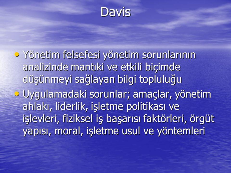 Davis Yönetim felsefesi yönetim sorunlarının analizinde mantıki ve etkili biçimde düşünmeyi sağlayan bilgi topluluğu.