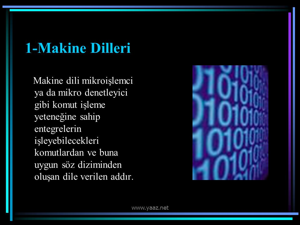 1-Makine Dilleri