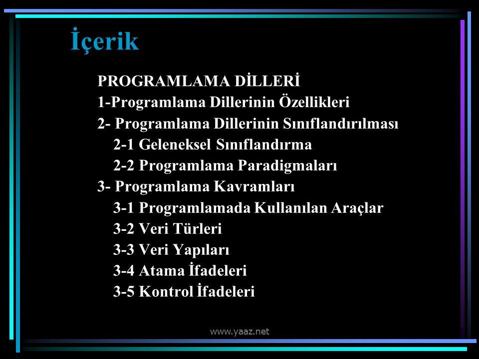 İçerik PROGRAMLAMA DİLLERİ 1-Programlama Dillerinin Özellikleri
