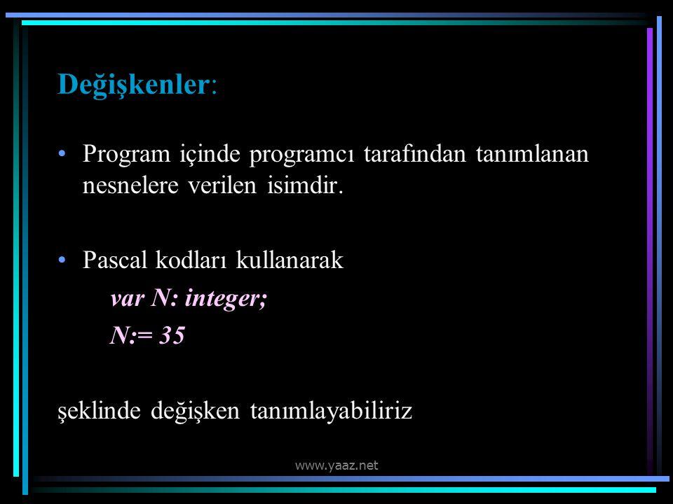 Değişkenler: Program içinde programcı tarafından tanımlanan nesnelere verilen isimdir. Pascal kodları kullanarak.