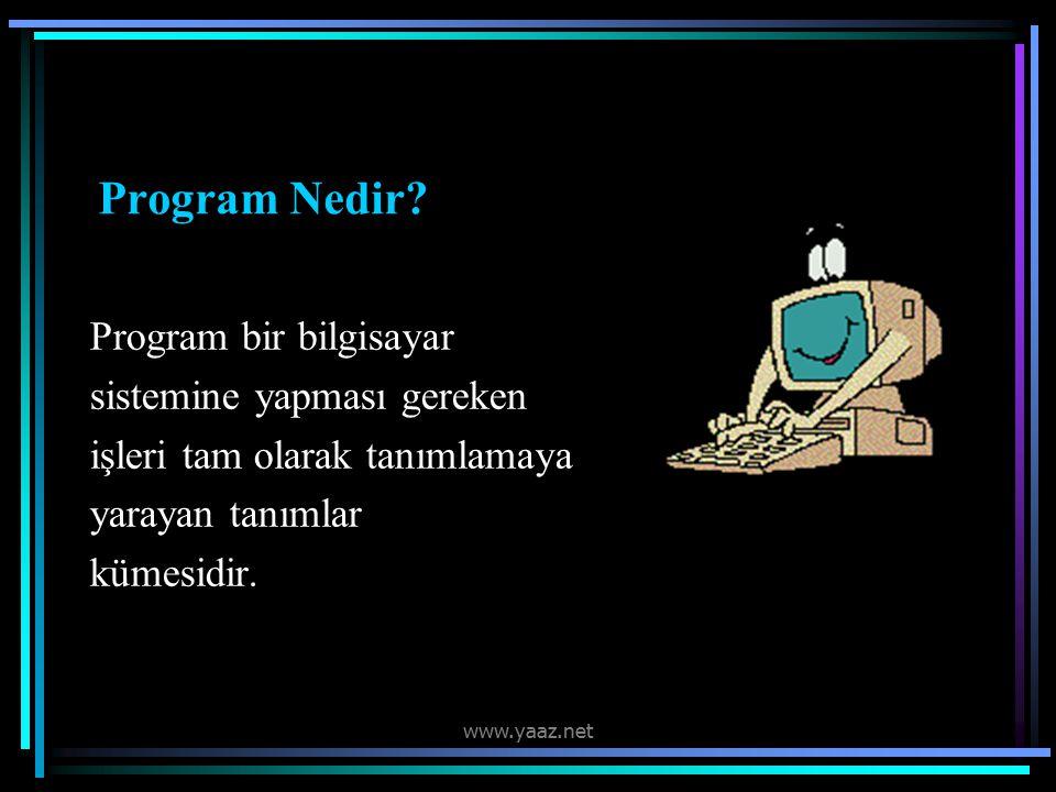 Program Nedir Program bir bilgisayar sistemine yapması gereken