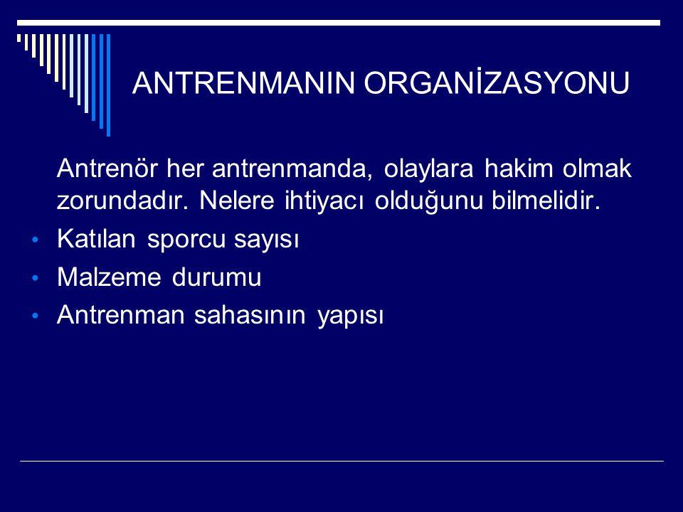 ANTRENMANIN ORGANİZASYONU