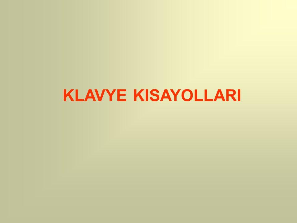 KLAVYE KISAYOLLARI