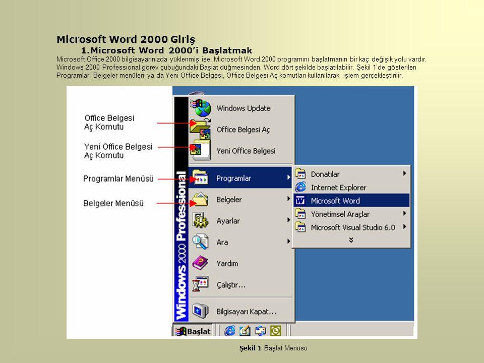 Microsoft Word 2000 Giriş Microsoft Word 2000'i Başlatmak
