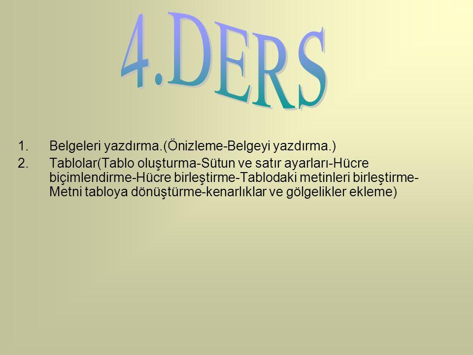 4.DERS Belgeleri yazdırma.(Önizleme-Belgeyi yazdırma.)