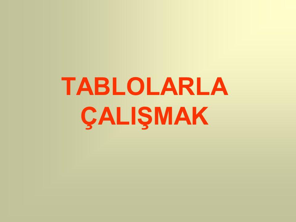 TABLOLARLA ÇALIŞMAK