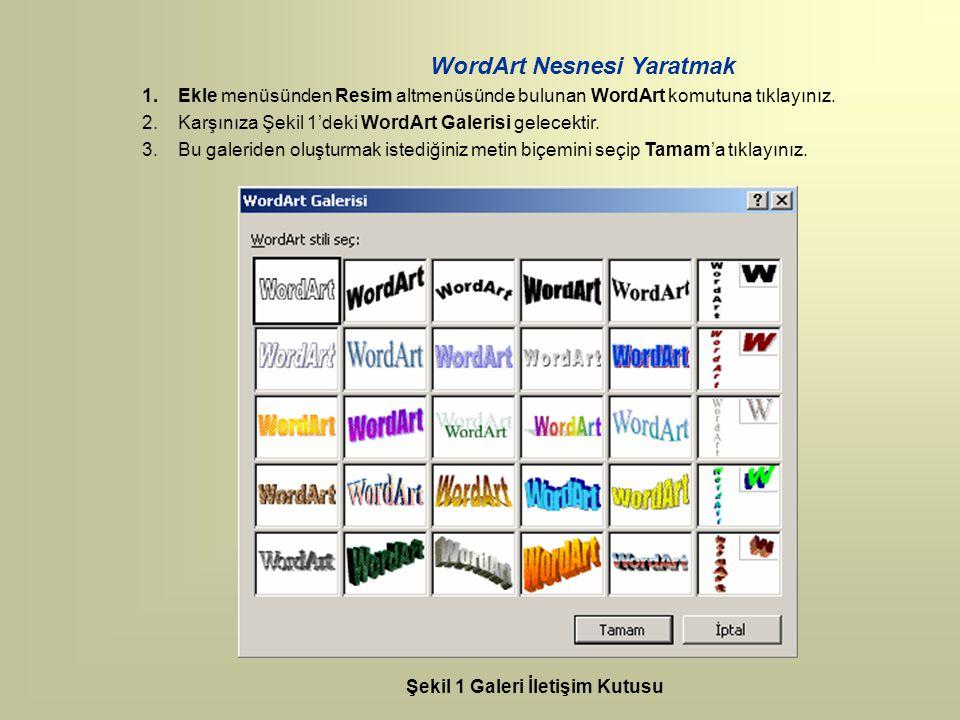 WordArt Nesnesi Yaratmak